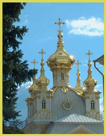 Photograph of golden domes at Perterhof, St. Petersburg